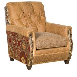 Wyatt Leather/Fabric Chair, Wyatt Leather/Fabric Ottoman
