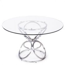 """Armen Living Brooke 48"""" Round Dining Table in Brushed Stainless Steel finish with Clear Glass top Product Image"""