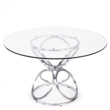 """Armen Living Brooke 48"""" Round Dining Table in Brushed Stainless Steel finish with Clear Glass top"""