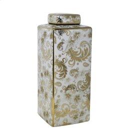 "Square White Jar, Gold Detail, 16"""