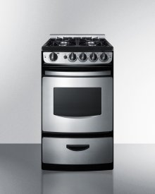 "20"" Wide Slide-in Gas Range In Stainless Steel With Electronic Ignition, Oven Window, and Open Burners"