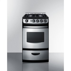 """Summit20"""" Wide Slide-in Gas Range In Stainless Steel With Electronic Ignition, Oven Window, and Open Burners"""
