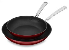 "Stainless Steel 10"" and 12"" Skillets Twin Pack - Candy Apple Red"