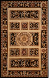 Versailles Palace Vp21 Ivory/black Rectangle Rug 7'6'' X 9'6''