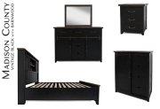 Madison County 3 PC Queen Barn Door Bedroom: Bed, Dresser, Mirror - Vintage Black Product Image