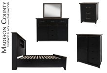 Madison County 4 PC Queen Barn Door Bedroom: Bed, Dresser, Mirror, Nightstand - Vintage Black
