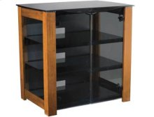 """AV Component Stand Smoked tempered-glass doors - fits AV components and TVs up to 37"""" - Chestnut"""