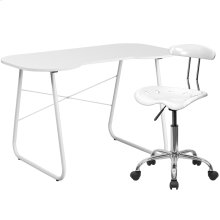 White Computer Desk and Tractor Chair