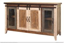 "60"" TV Stand w/2 Glass doors w/1 middle shelf, 2 Sliding doors, w/2 shelves"