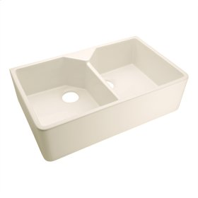 """Jolie Double Bowl Fireclay Farmer Sink - 31.5"""" No Hole - Bisque"""