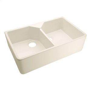 """Jolie Double Bowl Fireclay Farmer Sink - 31.5"""" No Hole - Bisque Product Image"""