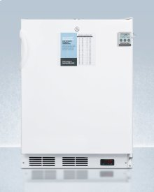 """24"""" Wide Built-in ADA Compliant All-refrigerator In White, Auto Defrost With A Lock, Nist Calibrated Thermometer, Digital Thermostat, Door Storage, and Internal Fan"""