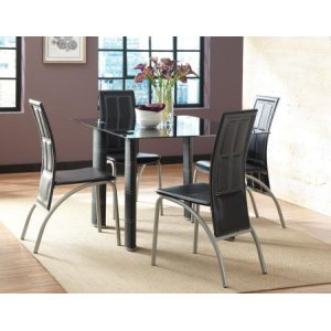 Steve Silver Co.Calvin 5 Piece Set(Black Glass Top Table & 4 Side Chairs)