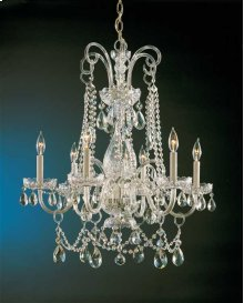 Traditional Crystal 6 Light Swarovski Strass Crystal Brass Chandelier