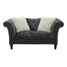 Emerald Home Hutton II Loveseat Nailhead W- 2 Pillows Charcoal U3164-01-53