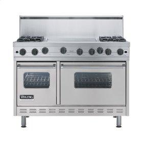 "Metallic Silver 48"" Open Burner Range - VGIC (48"" wide, four burners 24"" wide griddle/simmer plate)"