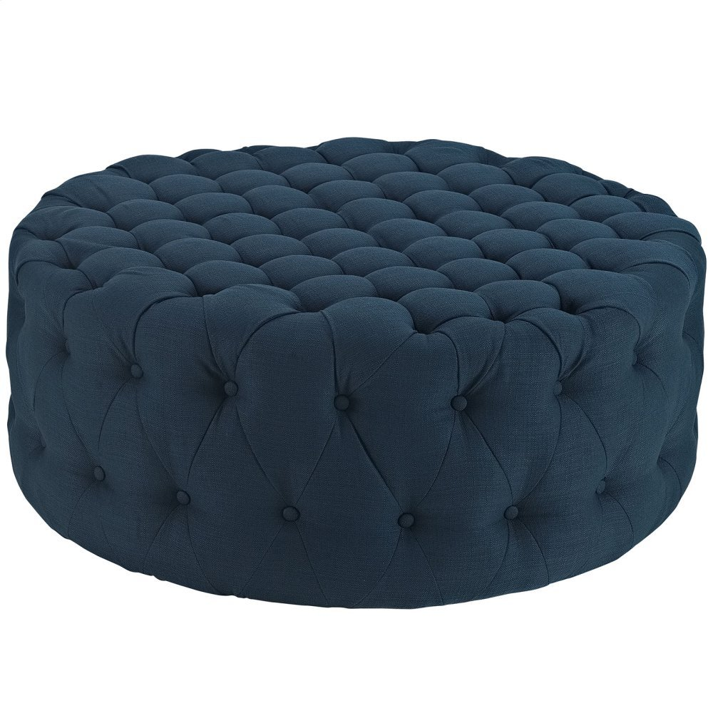Amour Upholstered Fabric Ottoman in Azure