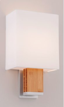 FLUORESCENT BOUTIQUE DIA SINGLE SCONCE - BRUSHED ALUMINUM/BAMBOO