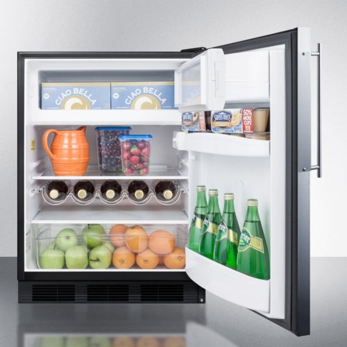 ADA Compliant Built-in Undercounter Refrigerator-freezer for Residential Use, Cycle Defrost W/stainless Steel Door Frame for Slide-in Panels and Black Cabinet