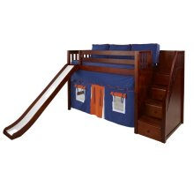 Mid Loft Bed with Staircase on End, Slide, Top Tent & Underbed Curtains