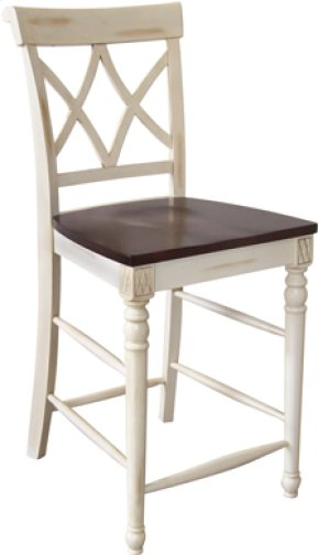 Cathedral Stool Eggshell & Walnut