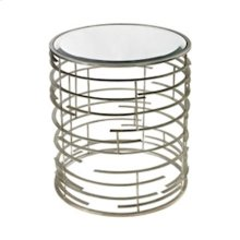 CONTEMPORARY SCULPTURAL METAL WORK SIDE TABLE WITH MIRROR TOP