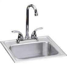 """Dayton Stainless Steel 15"""" x 15"""" x 6"""", Single Bowl Drop-in Bar Sink + Faucet Kit"""