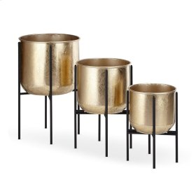 Irving Gold Foil Planters with Foldable Stands - Set of 3