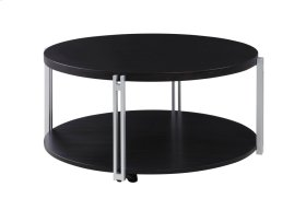 Emerald Home Merlot Round Cocktail Table W/bottom Shelf, Metal Legs and Casters Merlot T840-00
