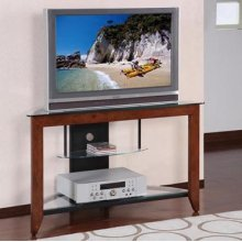 """Medium Cherry"" & Black 42"" Corner TV Stand"