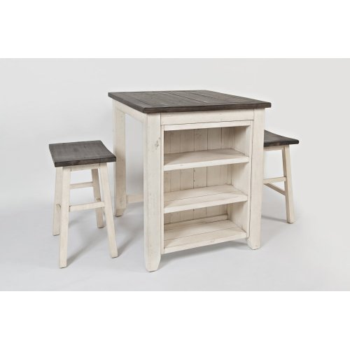 Madison County 3pc Counter Height Set - Vintage White - 170636 In By Jofran In Waldoboro, ME - Madison County 3pc Counter
