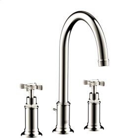 Polished Nickel 3-hole basin mixer 180 with cross handles and pop-up waste set