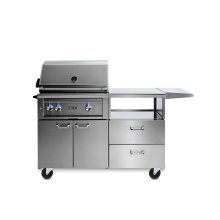 "30"" Lynx Professional Grill with 1 Trident and 1 Ceramic Burner and Rotisserie, LP on Mobile Kitchen Cart"