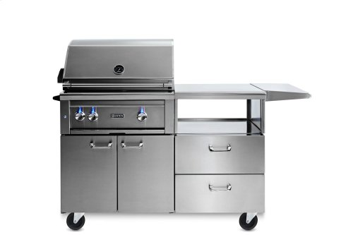 """30"""" Lynx Professional Grill with 1 Trident and 1 Ceramic Burner and Rotisserie, LP on Mobile Kitchen Cart"""