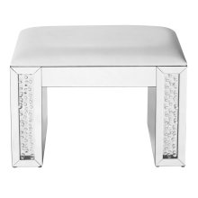 26 inch Crystal Vanity Leather stool in Clear Mirror Finish