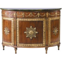 Black and Gold Marble Top Robert Adam Demi-lune Commode