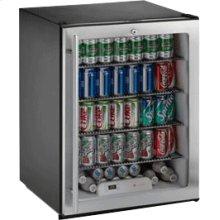 "Stainless Glass door, left-hand ADA Series /24"" ADA Height Compliant Glass Door Refrigerator / Single Zone Convection Cooling System"