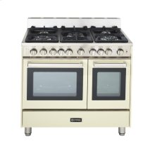 "36"" Gas Double Oven Range Antique White 4"" B/G"