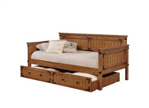 -DAYBED FINISHED IN RUSTIC HONEY-CONSTRUCTED WITH SOLID RUBBERWOOD-14 PC SLAT KIT INCLUDED-OPTIONAL TRUNDLE AVAILABLE (#300676)