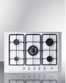"""5-burner Gas Cooktop Made In Italy In White Finish With Sealed Burners, Cast Iron Grates, Wok Stand, and Stainless Steel Frame To Allow Installation In 30"""" Wide Counter Openings Product Image"""