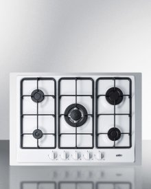 """5-burner Gas Cooktop Made In Italy In White Finish With Sealed Burners, Cast Iron Grates, Wok Stand, and Stainless Steel Frame To Allow Installation In 30"""" Wide Counter Openings"""