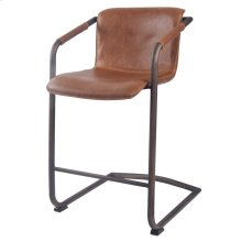 Indy PU Counter Stool Rubbed Gold Frame, Antique Cigar Brown