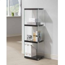 - Three tier bookcase finished in glossy black- Clear tampered glass side panels- Chrome details- Constructed with glass, MDF.- Also available in glossy white (#801258)