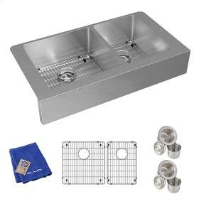 "Elkay Crosstown Stainless Steel 35-7/8"" x 20-1/4"" x 9"", 60/40 Double Bowl Farmhouse Sink Kit"