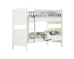 Complete Full Bunk Bed Upholstered 2 Hdbds-2ftbds-4 Side Rails-1 Ladder-2 Guard Rails White Finish