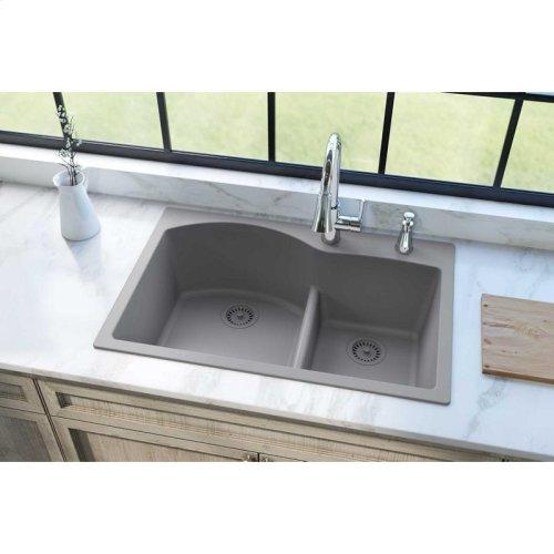 "Elkay Quartz Classic 33"" x 22"" x 10"", Offset 60/40 Double Bowl Drop-in Sink with Aqua Divide, Greystone"