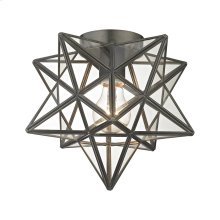 Moravian Star 1-Light Flush Mount in Bronze with Clear Glass