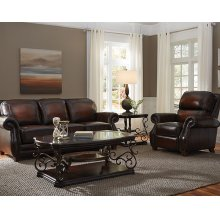 Stationary Leather Loveseat