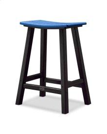 "Black & Pacific Blue Contempo 24"" Saddle Bar Stool"
