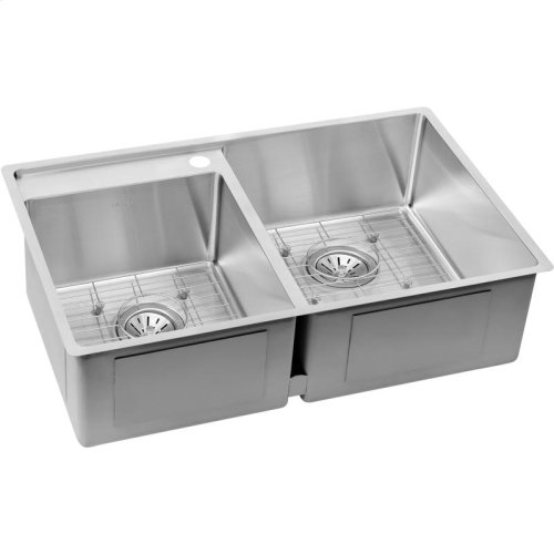"""Elkay Crosstown Stainless Steel 32-1/2"""" x 20-1/2"""" x 9"""", Offset Double Bowl Undermount Sink Kit with Water Deck"""